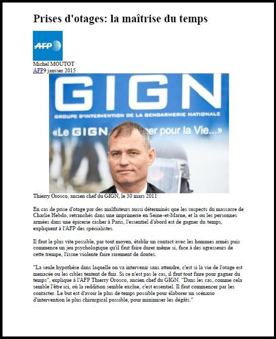 Thierry Orosco, chef GIGN cite jean-pierre VEYRAT dans article de l'AFP